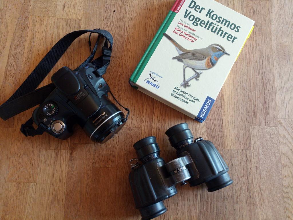 Feldstecher, Bestimmungsbuch und Fotoaparat. Das sollte man auf einer Birding Exkursion dabei haben.