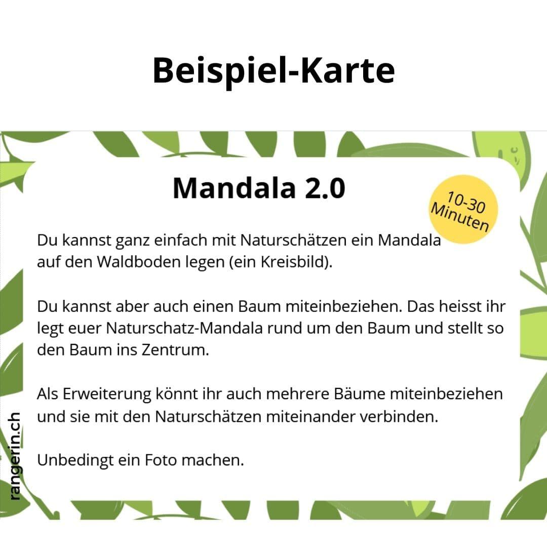 Mit Naturmaterialen ein Mandala legen.